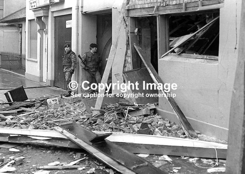 British soldiers at the scene of the New Year's Eve explosion in which 2 men and one woman died in the Central Bar, Gilford, Co Armagh, N Ireland. The bomb was planted by the INLA, Irish National LIberatation Army. 19760101005a..Copyright Image from Victor Patterson, 54 Dorchester Park, Belfast, United Kingdom, UK...For my Terms and Conditions of Use go to http://www.victorpatterson.com/Victor_Patterson/Terms_%26_Conditions.html