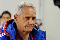 FC Dallas head coach Schellas Hyndman. The New York Red Bulls defeated FC Dallas 2-1 during a Major League Soccer (MLS) match at Red Bull Arena in Harrison, NJ, on April 17, 2010.