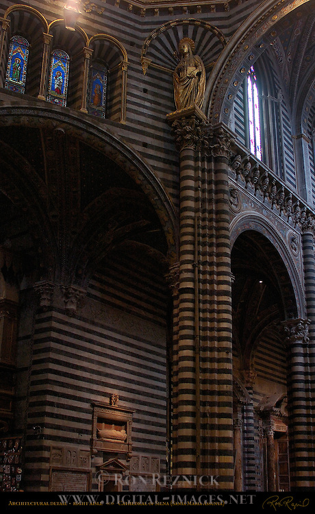 Gothic Architectural Detail, St. Catherine of Siena, Wall Tomb of Bishop Tommaso Piccolomini, Papal and Imperial Busts, Right Aisle, Cathedral of Siena, Santa Maria Assunta, Siena, Italy