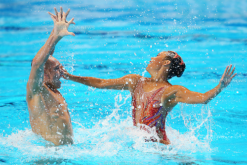 Bill May & Kristina Lum-Underwood (USA), JULY 30, 2015 - Synchronised Swimming : 16th FINA World Championships Kazan 2015 Mixed Duets Free Routine Final at Kazan Arena in Kazan, Russia. (Photo by Yohei Osada/AFLO SPORT)