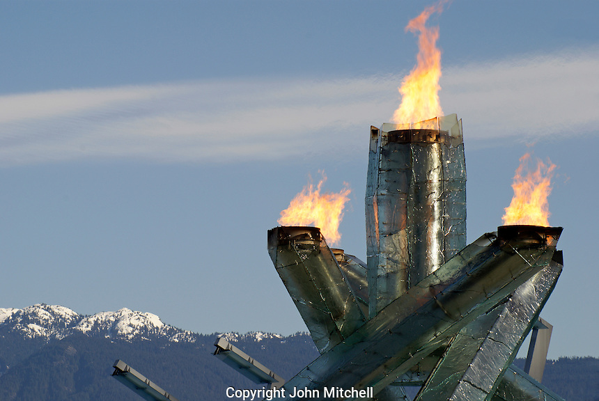 The Olympic Cauldron at the 2010 Winter Games in Vancouver, British Columbia, Canada