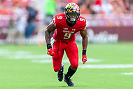 Landover, MD - September 1, 2018: Maryland Terrapins wide receiver Jahrvis Davenport (9) in action during game between Maryland and No. 23 ranked Texas at FedEx Field in Landover, MD. The Terrapins upset the Longhorns in back to back season openers with a 34-29 win. (Photo by Phillip Peters/Media Images International)