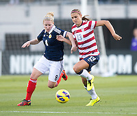 Alex Morgan, Kim Little.  The USWNT defeated Scotland, 4-1, during a friendly at EverBank Field in Jacksonville, Florida.