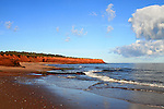 Images of The Canadian Maritime Provinces of Nova Scotia and Prince Edward Island. Red sand beaches of Prince Edward Island, Canada.