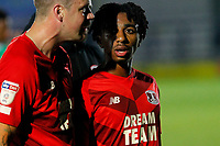 Jayden Sweeney of Leyton Orient receives counsel after the game during the The Leasing.com Trophy match between AFC Wimbledon and Leyton Orient at the Cherry Red Records Stadium, Kingston, England on 8 October 2019. Photo by Carlton Myrie / PRiME Media Images.