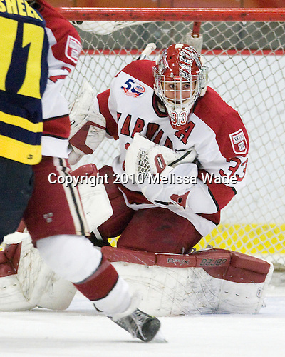 Kyle Richter (Harvard - 33) -  - The visiting Merrimack College Warriors defeated the Harvard University Crimson 3-1 (EN) at Bright Hockey Center on Tuesday, November 30, 2010.