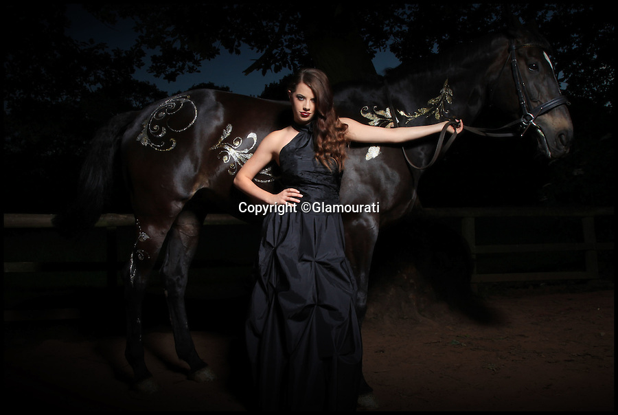 BNPs.co.uk (01202 558833)<br /> Pic: Glamourati/BNPS<br /> <br /> ***Please Use Full Byline***<br /> <br /> Glamourati glitter horse transfers. <br /> <br /> <br /> A mum of two is taking the equestrian world by storm after inventing temporary tattoos for horses made from glitter.<br /> <br /> Entrepreneurial Sally Rees, 40, dreamed up the idea for the sparkly marks while looking for a way to generate extra income while looking after her two young children at home.<br /> <br /> The former beauty spa director was painting children's faces with glittery designs at parties when it dawned on her that she could transfer her skill to horses.<br /> <br /> A year after her eureka moment Sally has turned her idea into a fully-fledged business that is catching the eye of the horse owners and riders around the country.<br /> <br /> Sally's equestrian glitter tattoo kits cost between £19.99 and £59.99 and can be bought from her website glamouratiuk.com.