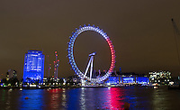 15 July 2016 - London, England - The London Eye on the South Bank in London is illuminated in the colours of the French flag to show solidarity with victims of the Bastille Day massacre. Photo Credit: ALPR/AdMedia