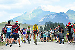 The breakaway group including race leader Yellow Jersey Greg Van Avermaet (BEL) BMC Racing Team summit during Stage 10 of the 2018 Tour de France running 158.5km from Annecy to Le Grand-Bornand, France. 17th July 2018. <br /> Picture: ASO/Alex Broadway | Cyclefile<br /> All photos usage must carry mandatory copyright credit (&copy; Cyclefile | ASO/Alex Broadway)