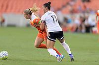 Houston, TX - Thursday Aug. 18, 2016: Kealia Ohai, Ali Krieger during a regular season National Women's Soccer League (NWSL) match between the Houston Dash and the Washington Spirit at BBVA Compass Stadium.