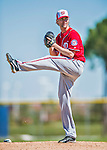 25 February 2016: Washington Nationals pitcher Bronson Arroyo throws during the first full squad Spring Training workout at Space Coast Stadium in Viera, Florida. Mandatory Credit: Ed Wolfstein Photo *** RAW (NEF) Image File Available ***