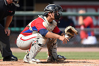 Gian Martellini (47) of Bishop Hendricksen High School in Johnston, Rhode Island playing for the Philadelphia Phillies scout team during the East Coast Pro Showcase on August 1, 2014 at NBT Bank Stadium in Syracuse, New York.  (Mike Janes/Four Seam Images)