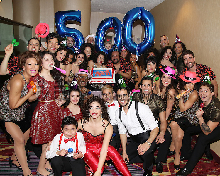 Cast of the Broadway production of 'On Your Feet!' celebrate their 500th performance at Marquis Hotel  on January 18, 2017 in New York City.