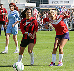 London, UK on Sunday 31st August, 2014. Rachel Riley in pain after hurting her knee during the Soccer Six charity celebrity football tournament at Mile End Stadium, London.