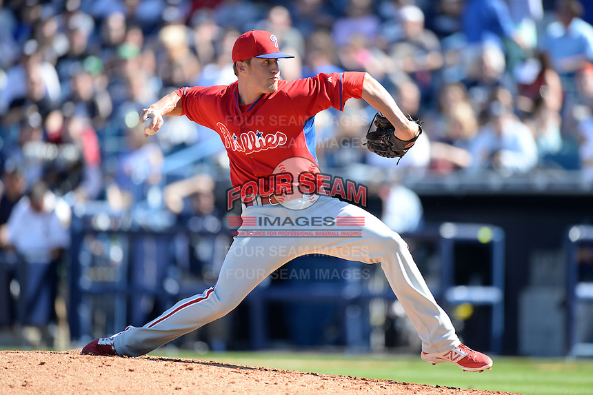 Philadelphia Phillies pitcher Ken Giles (76) during a spring training game against the New York Yankees on March 1, 2014 at Steinbrenner Field in Tampa, Florida.  New York defeated Philadelphia 4-0.  (Mike Janes/Four Seam Images)