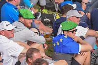 Avid European golf fans sit near the green on 9 during Friday's foursomes of the 2018 Ryder Cup, Le Golf National, Guyancourt, France. 9/28/2018.<br /> Picture: Golffile | Ken Murray<br /> <br /> <br /> All photo usage must carry mandatory copyright credit (© Golffile | Ken Murray)