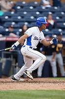 Jalen Phillips (22) of the Duke Blue Devils follows through on his swing against the California Golden Bears at Durham Bulls Athletic Park on February 20, 2016 in Durham, North Carolina.  The Blue Devils defeated the Golden Bears 6-5 in 10 innings.  (Brian Westerholt/Four Seam Images)