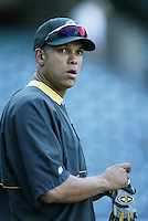David Justice of the Oakland Athletics before a 2002 MLB season game against the Los Angeles Angels at Angel Stadium, in Anaheim, California. (Larry Goren/Four Seam Images)