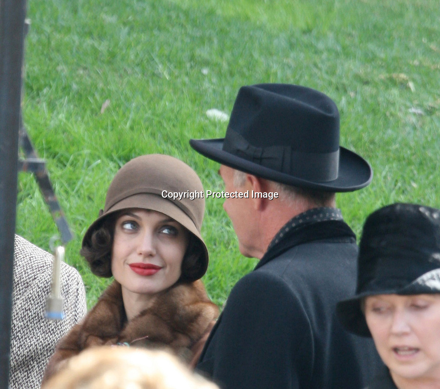 """AbilityFilms@yahoo.com 805-427-3519.october 29th Angelina Jolie filming her movie.'Changeling"""" in L.A"""