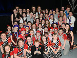 Voice of Ireland contestant Katy Anna Mohan pictured with KidKast members at the Schools Dance Allstars finals at the TLT. Photo:Colin Bell/pressphotos.ie