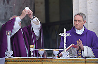 Pope Francis Monsignor Georg Gänswein, during a mass at the U.S. World War II cemetery in Nettuno, near Rome. on the day Christians around the world commemorate their dead, on November 2, 2017