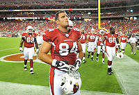 Aug. 28, 2009; Glendale, AZ, USA; Arizona Cardinals tight end (84) Anthony Becht against the Green Bay Packers during a preseason game at University of Phoenix Stadium. Mandatory Credit: Mark J. Rebilas-