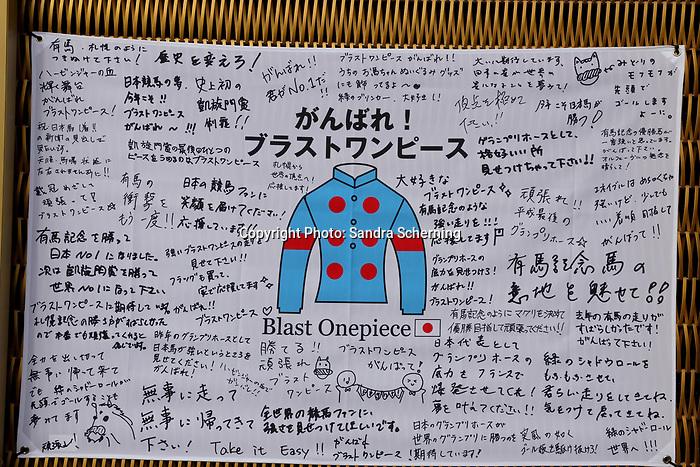 October 06, 2019, Paris (France) - Fan Poster for the Japanese Contender Blast Onepiece in the Prix de l'Arc de Triomphe on October 6 in ParisLongchamp. [Copyright (c) Sandra Scherning/Eclipse Sportswire)]