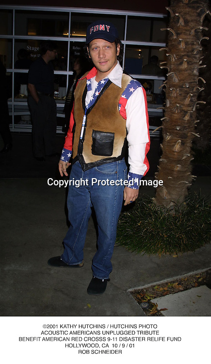©2001 KATHY HUTCHINS / HUTCHINS PHOTO.ACOUSTIC AMERICANS UNPLUGGED TRIBUTE.BENEFIT AMERICAN RED CROSSS 9-11 DISASTER RELIFE FUND.HOLLYWOOD, CA  10 / 9 / 01.ROB SCHNEIDER