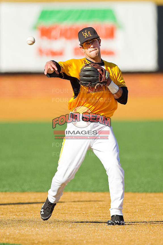 Alfredo Rodriguez #2 of the Maryland Terrapins makes a throw to first base during infield practice prior to the game against the Wake Forest Demon Deacons at Wake Forest Baseball Park on March 10, 2012 in Winston-Salem, North Carolina.  (Brian Westerholt/Sports On Film)