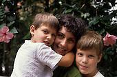 Sao Paulo, Brazil. Brazilian Italian mother and her two children.