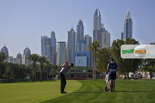 Victor Perez (FRA) on the 16th fairway during Round 4 of the Omega Dubai Desert Classic, Emirates Golf Club, Dubai,  United Arab Emirates. 27/01/2019<br /> Picture: Golffile | Thos Caffrey<br /> <br /> <br /> All photo usage must carry mandatory copyright credit (© Golffile | Thos Caffrey)