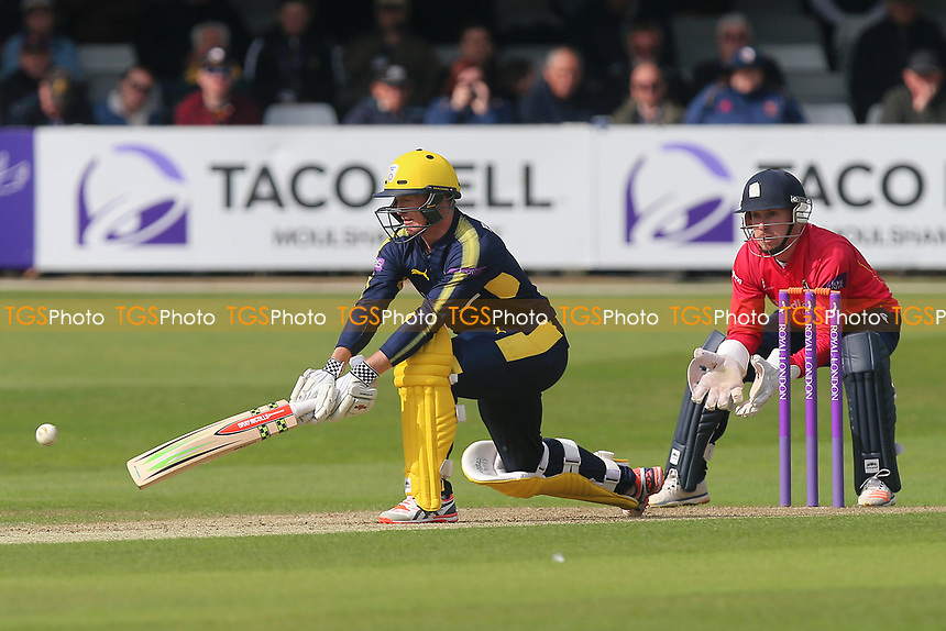 George Bailey in batting action for Hampshire as Adam Wheater looks on from behind the stumps during Essex Eagles vs Hampshire, Royal London One-Day Cup Cricket at The Cloudfm County Ground on 30th April 2017