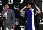 September 12, 2016, Tokyo, Japan - Japanese actress Ayame Goriki (R) and football commentator Yasutaro Matsuki attend the promotion event of British sports live streaming service DAZN in Tokyo on Monday, September 12, 2016. DAZN started the service in Japan from last month and Goriki became the campaign model of the service.    (Photo by Yoshio Tsunoda/AFLO) LWX -ytd-