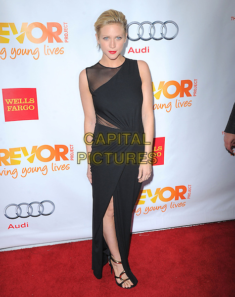 "Brittany Snow.The Trevor Project's ""Trevor Live"" 2012 held at the Hollywood Palladium, Hollywood, California, USA..December 2nd, 2012.full length dress sheer slit split black sleeveless   .CAP/RKE/DVS.©DVS/RockinExposures/Capital Pictures."