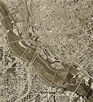 historical aerial photograph of Dallas Texas, 1968