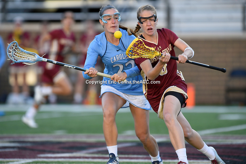 Boston College Sarah Mannelly (6) and North Carolina Maggie Bill (22) battle for the ball during the 2014 ACC Women's Lacrosse Quarterfinals in Boston, MA, Thursday, April 24, 2014. (Photo by Eric Canha,<br /> theACC.com)