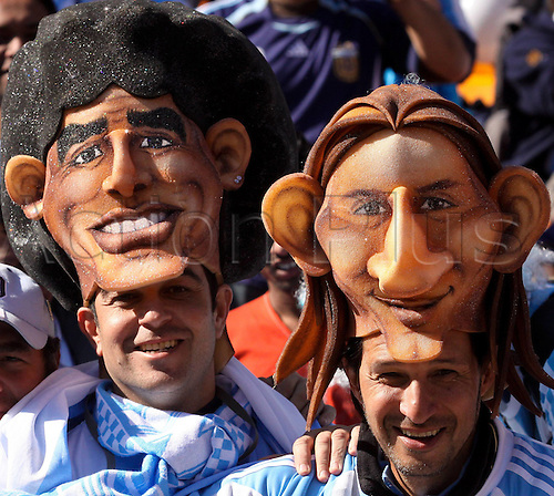 17 06 2010  2010 World Cup Johannesburg, South Africa. Argentina versus South Korea. Argentina fans with face masks before the game starrted. The game ended with Argentina winning 4-1.