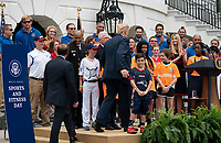 United States president Donald J. Trump participates in the White House Sports and Fitness Day at the White House in Washington, DC, May 30, 2018. <br /> CAP/MPI/RS<br /> &copy;RS/MPI/Capital Pictures