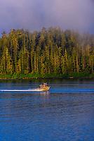 Fishing boats, Sitka Sound,  Inside Passage, near Sitka, Alaska USA.