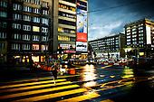 Warsaw 23.06.2009 Poland<br /> Warsaw at twilight. Swietokrzyska street and Jana Pawla street crossroads at night.<br /> Photo: Adam Lach / Napo Images<br /> <br /> Warszawa o zmierzchu.Skrzyzowanie ulic Swietokrzyskiej z Jana Pawla noca.<br /> Fot: Adam Lach / Napo Images