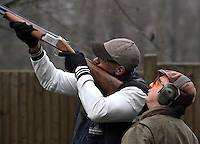 Clay pigeon shooting session with London Wasps player  Tom Varndell revives instructions from one of the dedicated team of professional instructors, incorporating some of the most experienced and committed game shots as well as world class competitive clay shots at E.J.Churchill Shooting Ground, Park Lane, Lane End, High Wycombe, Buckinghamshire, England on December 20, 2012.