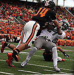12/04/10-- Oregon State;s Jordan Poyer upends Oregon's Kenjon Barner from getting into the end zone before the half during the Civil War game at Reser Stadium in Corvallis, Or..Photo by Jaime Valdez......
