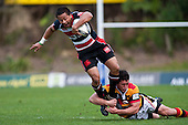 Tim Nanai-Williams tries to step out of the Callum Bruce tackle. Air New Zealand Cup Rugby Game between Counties Manukau & Waikato, played at Bayer Growers Stadium Pukekohe on Saturday August 29th 2009. Waikato won 30 - 8.