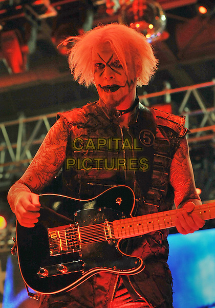 """Guitarist for Rob Zombie, JOHN 5, performs on a stop on his """"Hell On Earth Tour 2011"""" held at the Stage AE, Pittsburgh, PA, USA..July 23rd, 2011                               .stage concert live gig performance music half length sleeveless jacket guitar make-up.CAP/ADM/JN.©Jason L Nelson/AdMedia/Capital Pictures."""