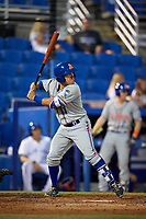St. Lucie Mets left fielder Nick Sergakis (1) at bat during a game against the Dunedin Blue Jays on April 19, 2017 at Florida Auto Exchange Stadium in Dunedin, Florida.  Dunedin defeated St. Lucie 9-1.  (Mike Janes/Four Seam Images)