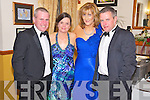 John and Kerryann Dwyer, Catriona Brosnan and Stephen Gamble, pictured at the Kerry County Hunt Club social in Darby O'Gills hotel, Killarney on Saturday night.. ..........................