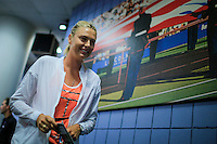 Maria Sharapova of Russiadeparts after taking part in a news conference at the Arthur ASHE stadium during the US Open 2015 tennis Tournament in New York. 08.29.2015.  Eduardo MunozAlvarez/VIEWpress.
