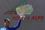 April 18th 2017, Innervillgarten, Austria; UCI Tour of the Alps mens cycling tour, stage 2; Australia's Rohan Dennis wins the stage in Innervillgarten. Start of the second stage of the cycling race Tour of the Alps from Innsbruck to Innervillgraten have been shorten with a start in Vipiteno due to weather conditions. Pictured: French Thibaut Pinot (FDJ) is the new leader.© Pierre Teyssot