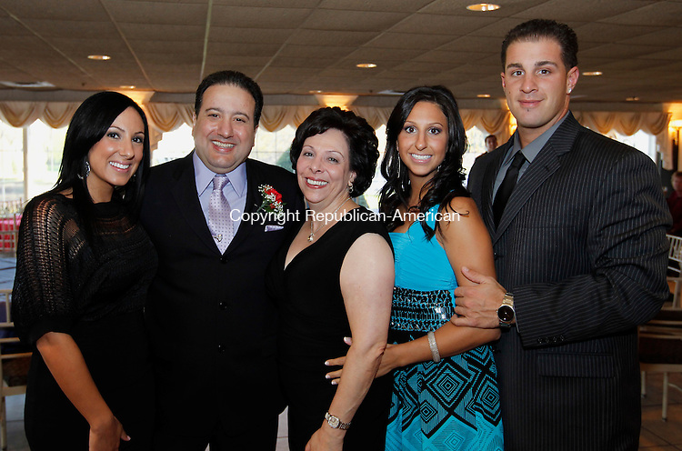 Southington, CT-12, April 2010-041210CM08  SOCIAL MOMENTS: (L-R) Maria, Tony, Marianne, Jennifer Pesce and Mike Franceskino of Waterbury at the Aqua Turf in Southington for the Waterbury Sportsmen Club Banquet.   --Christopher Massa Republican-American