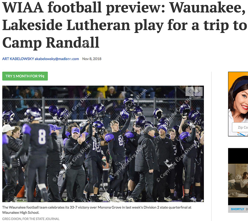 Waunakee prepares for Wisconsin football sectional playoffs 11/9/18. The team is pictured here celebrating their 33-7 victory over Monona Grove on Friday, 11/2/18 | Wisconsin State Journal articles in B4 Sports 11/9/18 and online 11/8/18 at https://madison.com/wsj/sports/high-school/football/wiaa-football-preview-waunakee-lakeside-lutheran-play-for-a-trip/article_018ea998-eb26-54d0-9879-321a95b9ba4b.html